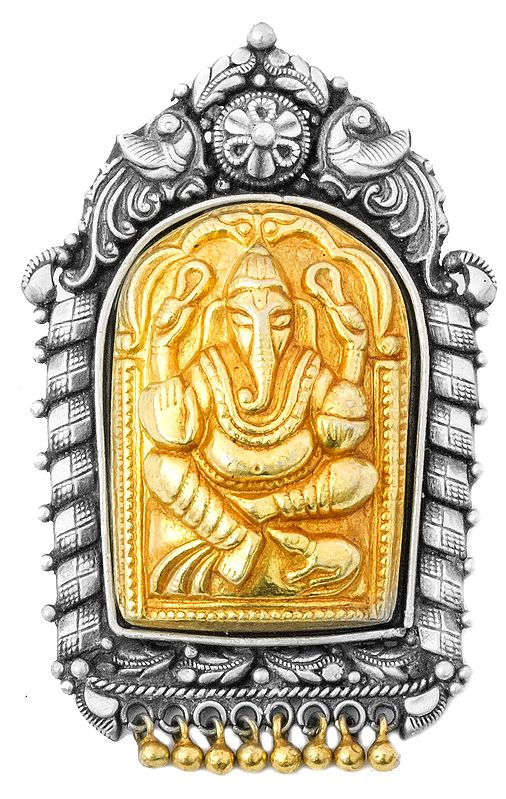 Lord Ganesha Gold Plated Pendant (South Indian Temple Jewelry)