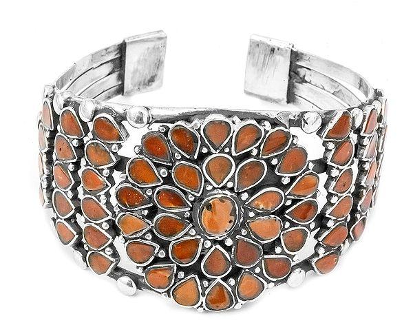 Flower Inlay Cuff Bracelet