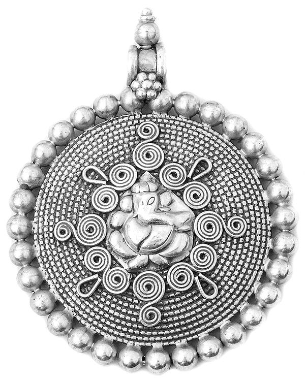 Lord Ganesha Large Pendant with Spiral