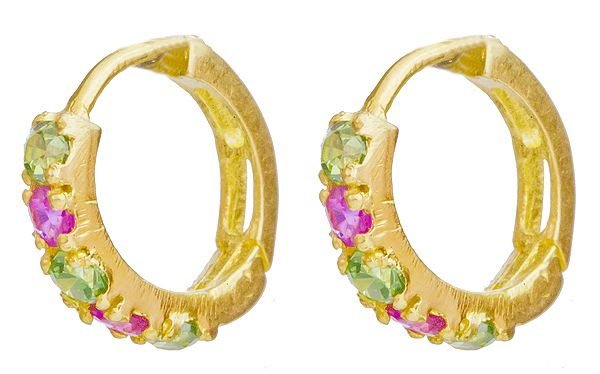 Hoop Earrings with Emerald and Ruby