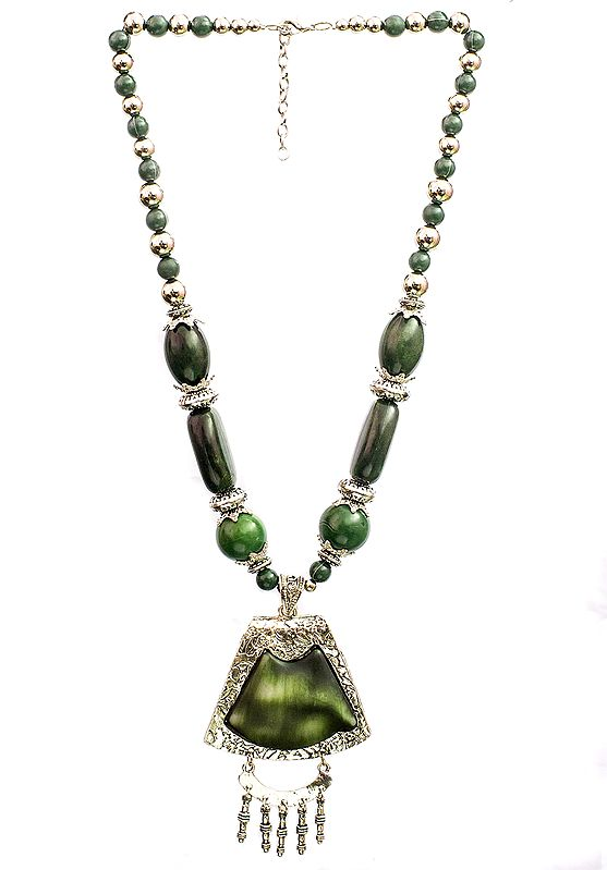 Green and Silver Beaded Necklace