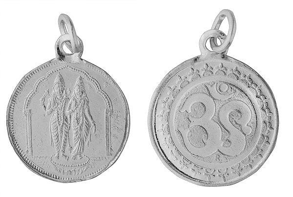 Vishnu-Lakshmi Pendant with OM on Reverse (Two Sided Pendant)