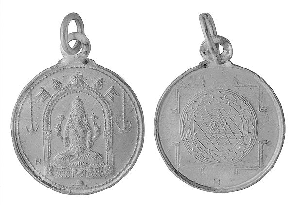 Goddess Vaishnavi Pendant with Her Yantra on Reverse (Two Sided Pendant)