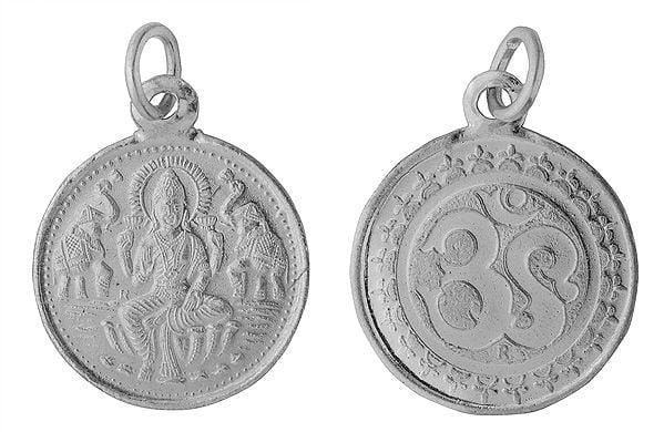 Goddess Lakshmi Pendant with Om on  Reverse (Two Sided Pendant)