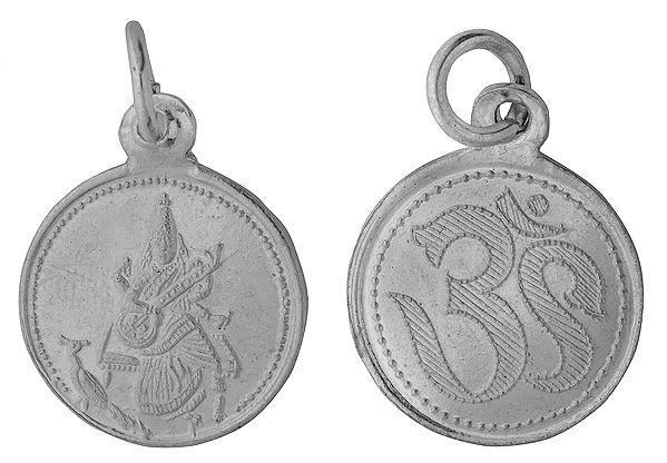 Goddess Saraswati Pendant with OM on Reverse (Two Sided Pendant)