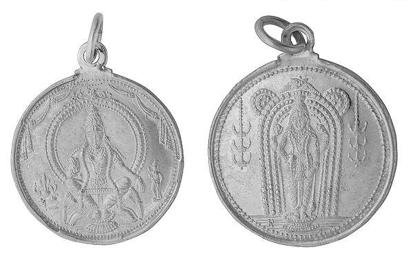 Ayyappan  Pendant with Lord Vishnu  on Reverse (Two Sided Pendant)