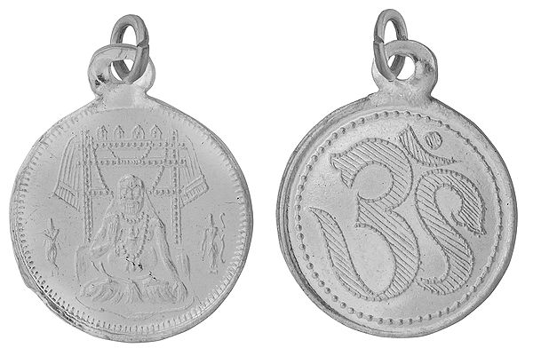 Raghavendrar Pendant with OM on  Reverse (Two Sided Pendant)