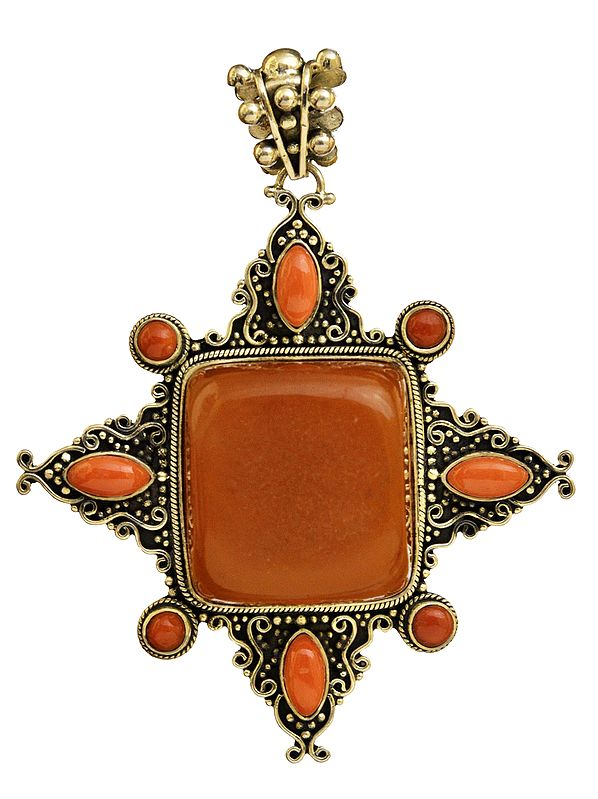 Amber Pendant with  coral