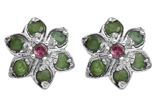 Faceted Ruby and Emerald Flower Tops