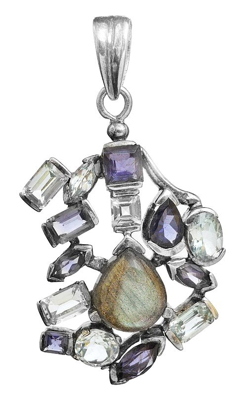 Triple Gemstone Pendant (BT, Iolite and Labradorite)