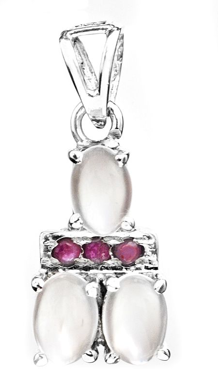 Triple Moonstone Pendant with Faceted Ruby