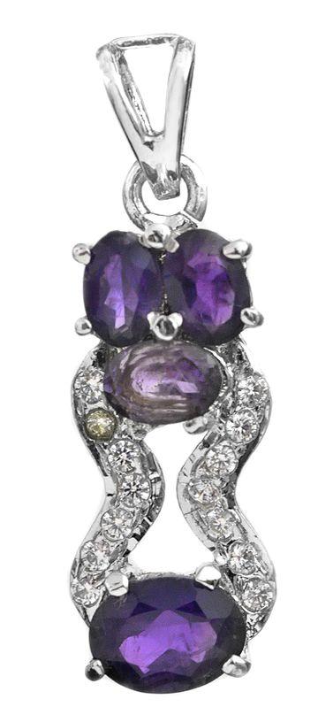 Faceted Amethyst Pendant with CZ