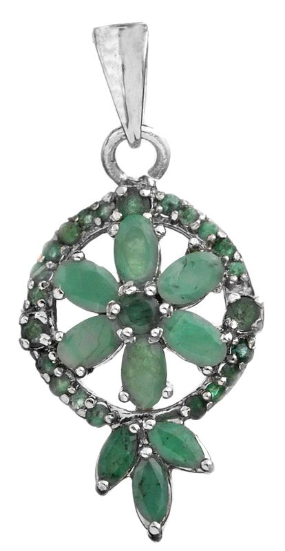 Faceted Emerald Floral Pendant