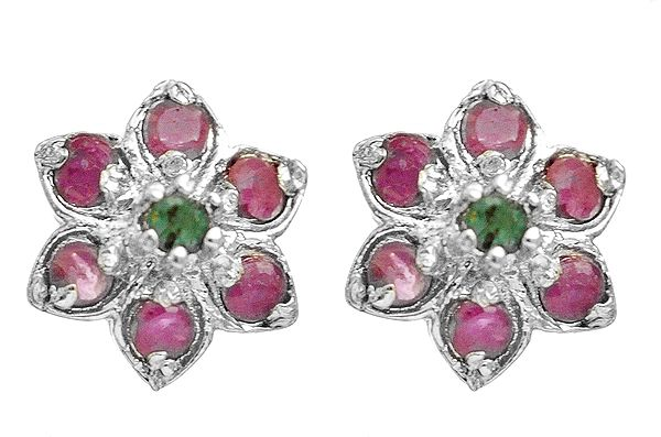Flower Tops with Faceted Ruby and Emerald