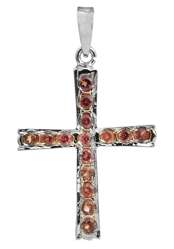 Faceted Garnet Cross Pendant