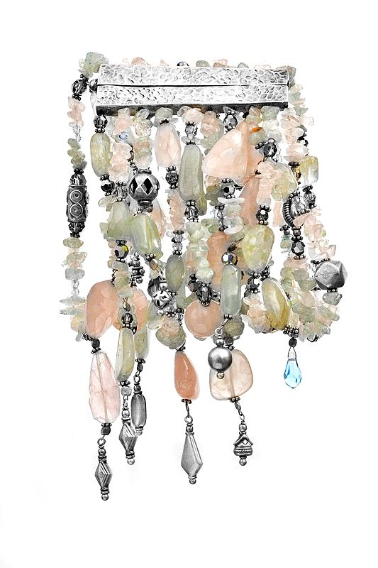 Cascade Wristlet With Beaded Roze Quartzes, Aquamarines, And Lead Glass Crystals
