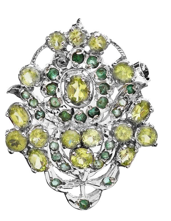 Faceted Peridot with Emerald Brooch Cum Pendant