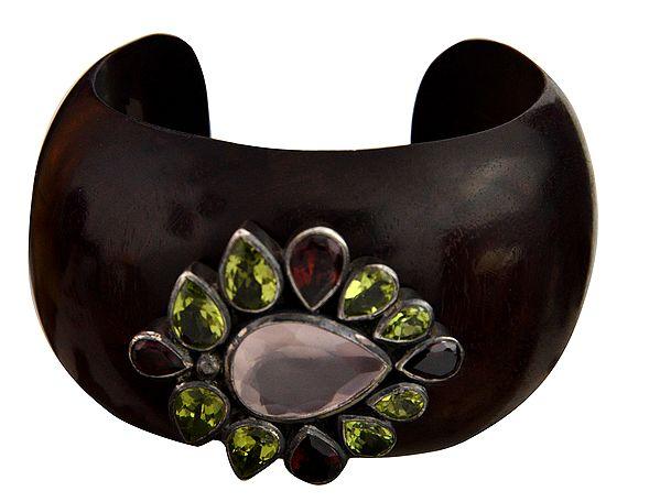 Faceted Gemstone Cuff Bracelet (Rose-Quartz, Peridot and Garnet)