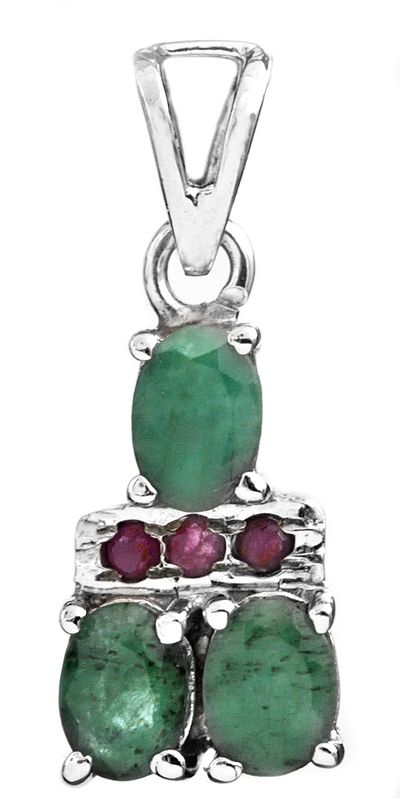 Faceted Emerald Pendant with Ruby
