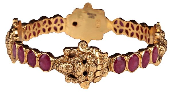 Goddess Lakshmi Bangle with Faceted Ruby (South Indian Temple Jewelry)