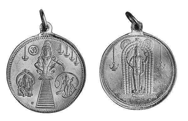 Ayyappan Pendant with Ganesha and Karttikeya and Kuruvayurapar on Reverse (Two Sided Pendant)