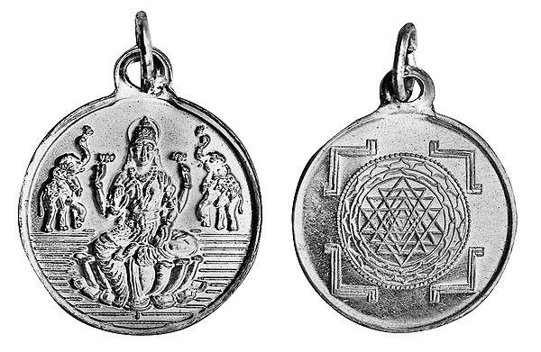 Goddess Lakshmi Pendant with Shri Yantra on Reverse (Two Sided Pendant)
