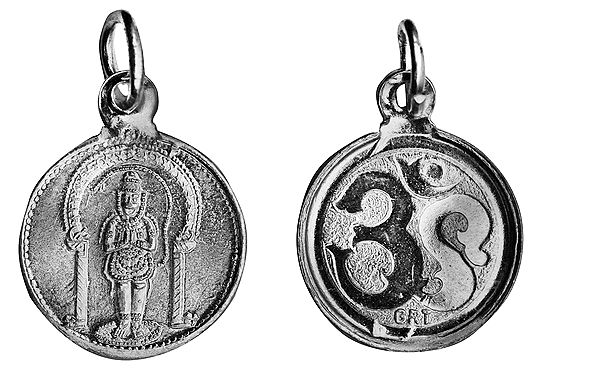 Bhakta Anjaneyar (Hanuman) Pendant with OM (AUM) on Reverse (Two Sided Pendant)