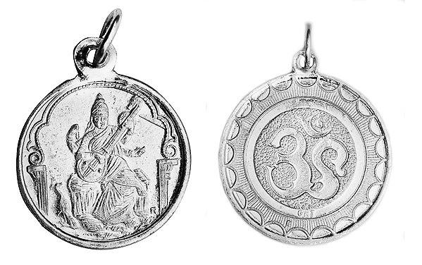 Goddess Saraswati Pendant with OM (AUM) on Reverse (Two Sided Pendant)