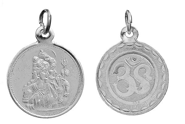 Sivan-Parvathy (Shiva-Parvati) Pendant with OM (AUM) on Reverse (Two Sided Pendant)
