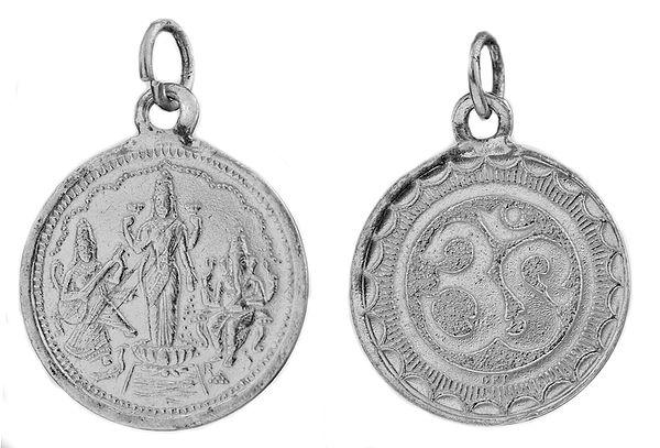 Saraswati, Lakshmi and Ganesha Pendant with OM (AUM) on Reverse (Two Sided Pendant)
