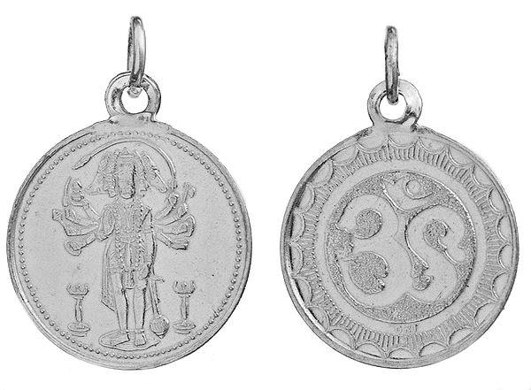 Panchamuga Anjaneyar (Five-Headed Hanuman)  Pendant with OM (AUM) on Reverse (Two Sided Pendant)