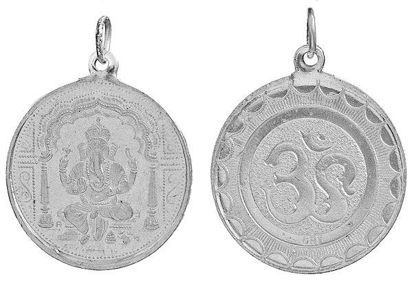 Ganapathi (Ganesha)  Pendant with OM (AUM) on Reverse (Two Sided Pendant)