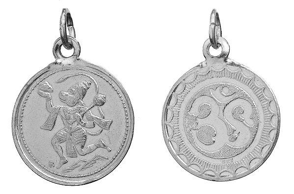 Veera Anjaneyar (Hanuman Ji)   Pendant with OM (AUM) on Reverse (Two Sided Pendant)