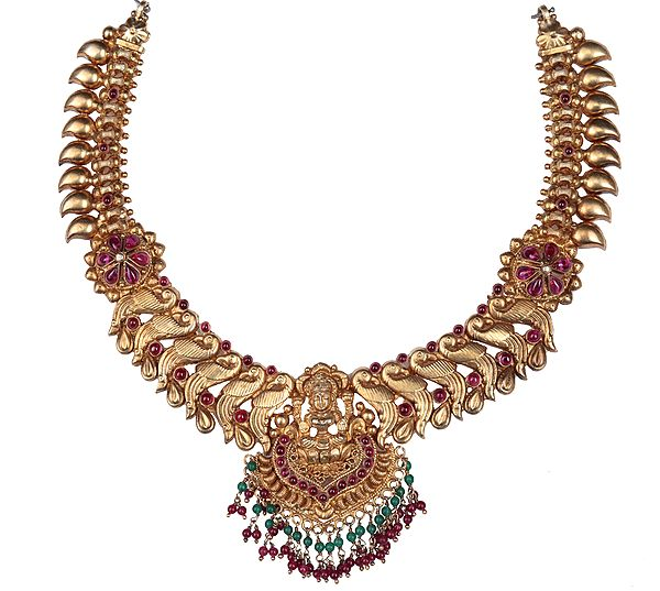 Goddess Lakshmi Necklace Centre with Gemstones (South Indian Temple Jewelry)