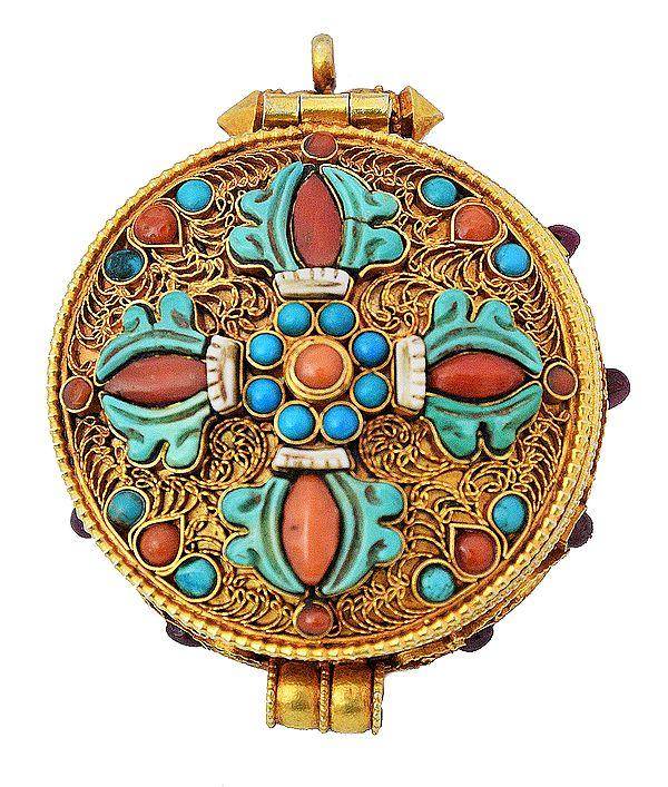 Chenrezig Gau Box Gemstone Pendant with Vishva Vajra at Front (Coral and Turquoise)  - Made in Nepal