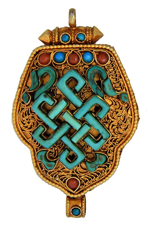 Endless Knot  Gau Box Pendant  (Coral, Turquoise and  Filigree)   - Made in Nepal