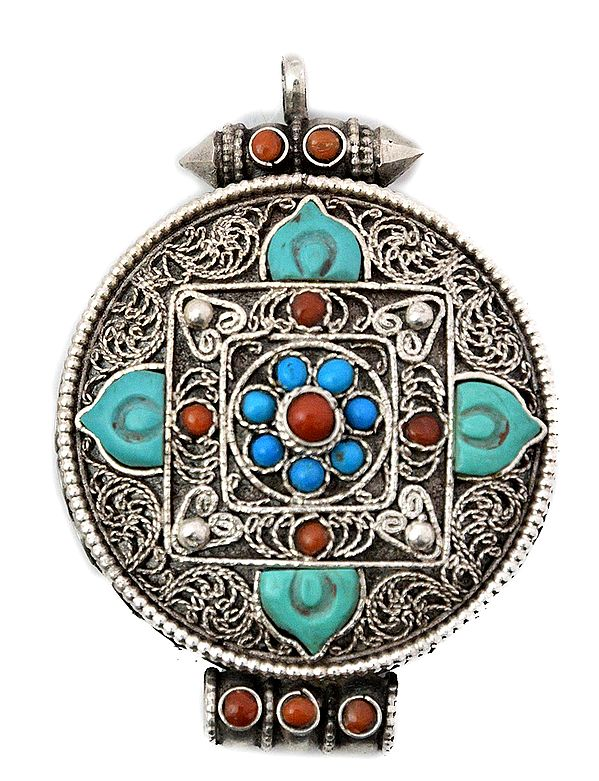 Mandala  Gau Box Pendant with Coral, Turquoise and  Filigree)   - Made in Nepal