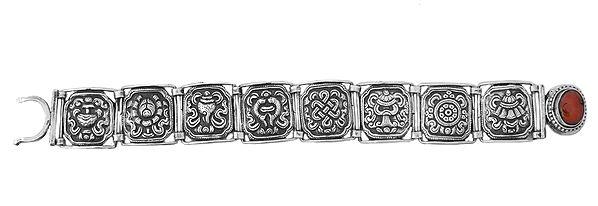 Ashtamangala Bracelet  with Coral - Made in Nepal