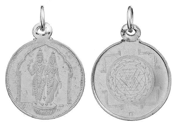 Vishnu Lakshmi Pendant with Yantra on Reverse (Two Sided Pendant)