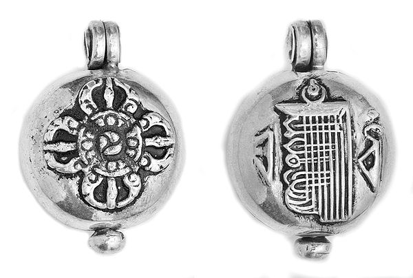 Vishva Vajra Gau Box Pendant with The Ten Powerful Syllables of The Kalachakra Mantra on Reverse -  Made in Nepal