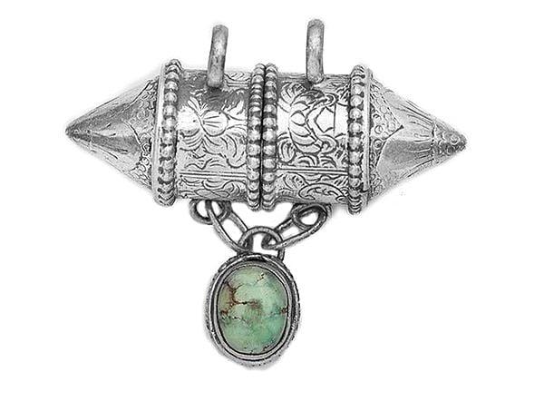 Amulet Box (Tabiz )  Pendant with Turquoise - Made in Nepal
