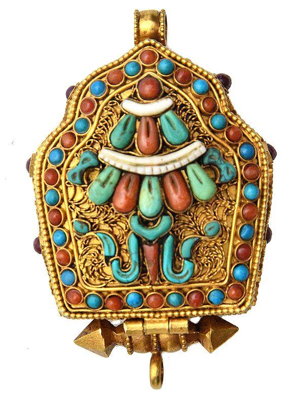 Chenrezig (Shadakshari Avalokiteshvara) Gau Box Gemstone Pendant with Umbrella (Ashtamangala) at Front (Coral, Turquoise and Lapis Lazuli)- Made in Nepal