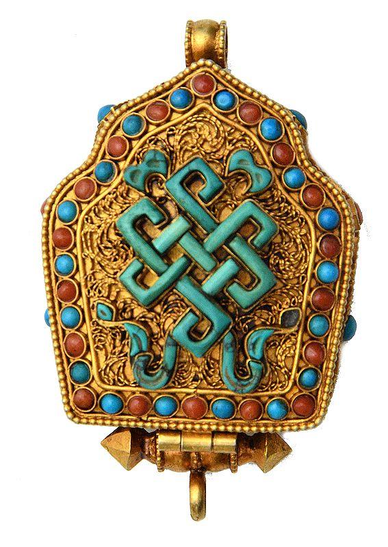 Goddess Green Tara Gau Box Gemstone Pendant with Endless Knot (Ashtamangala) at Front (Coral, Turquoise and Lapis Lazuli) - Made in Nepal