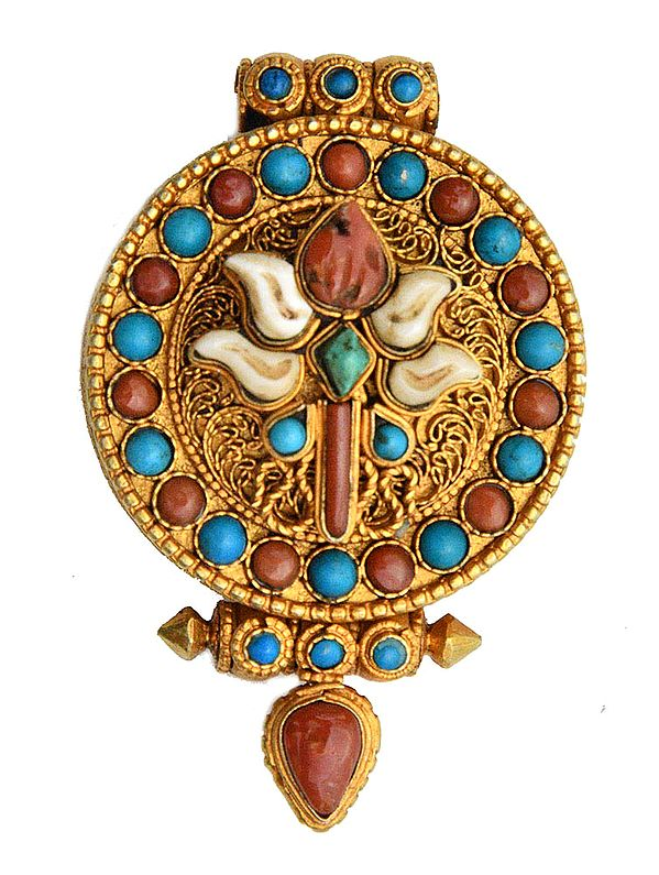 Victory Banner (Ashtamangala) Gau Box Pendant  with Coral and Turquoise - Made in Nepal