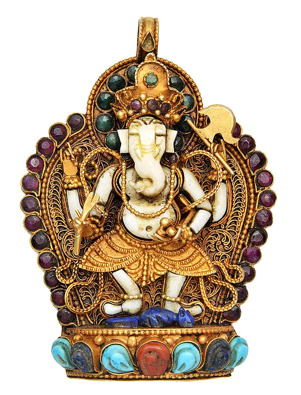 Gems-studded Filligree Pendant With Dancing Chaturbhuja Ganesha Motif