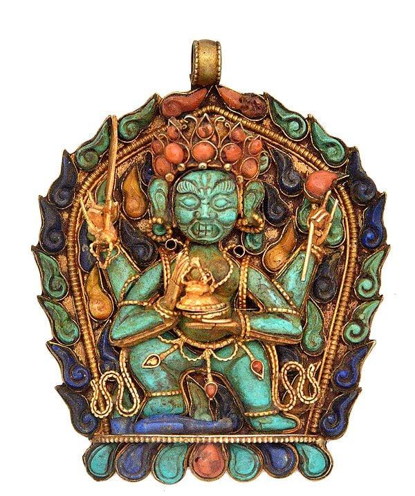 Gem-studded Mahakala Pendant (Tibetan Buddhist Jewellery Made In Nepal)