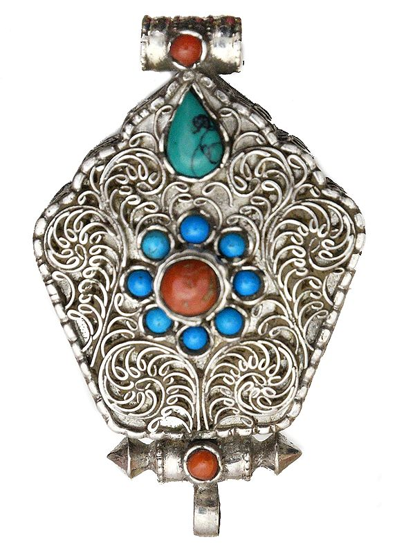 Filigree Gau Box Pendant with Coral and Turquoise  - Made in Nepal