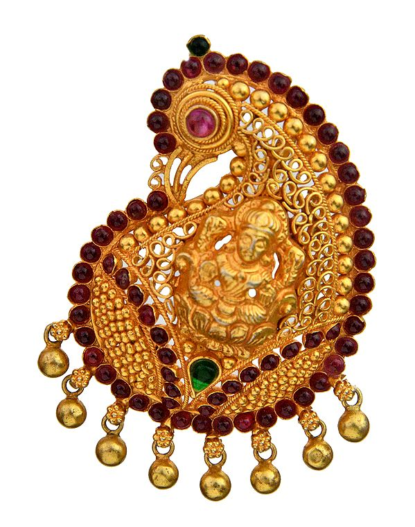 Handcrafted Goddess Lakshmi Peacock Pendant (South Indian Temple Jewelry)