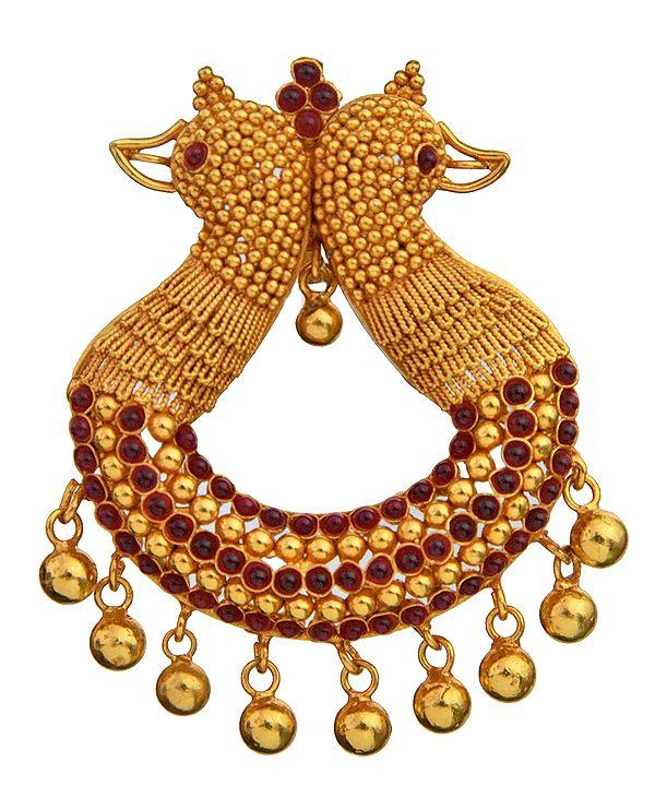 Parrot Pair Designer Pendant (South Indian Temple Jewelry)