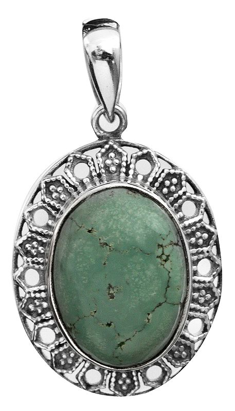 Turquoise Oval French-Wired Pendant